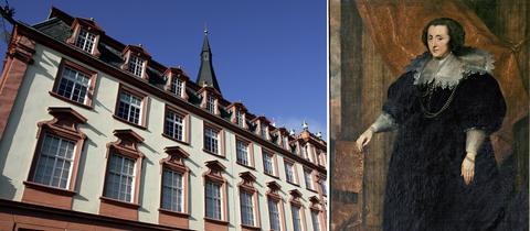 Collage, links Schloss Erbach von außen, rechts Gemälde aus der Sammlung