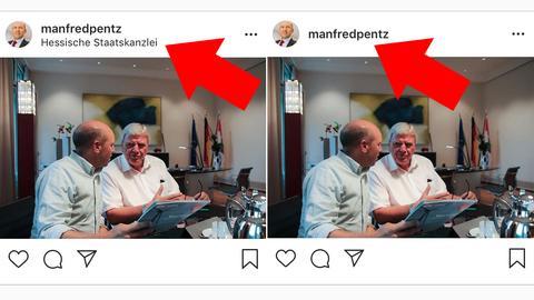 Instagram-Posts von Manfred Pentz, einmal mit Angabe: Hessische Staatskanzlei
