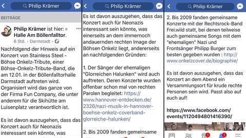 Facebook-Post von Philip Krämer.