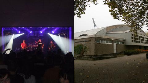 Die Böllenfalltorhalle und ein Konzertbild von Stainless Steel.