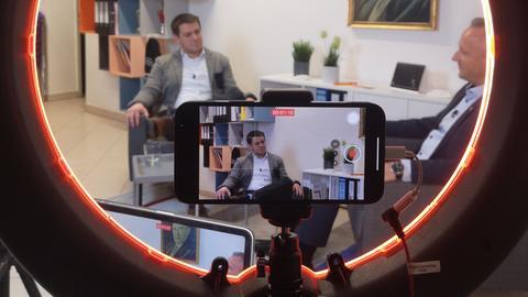 Jens Böhringer (links) beim Dreh eines Wahlkampf-Videos.