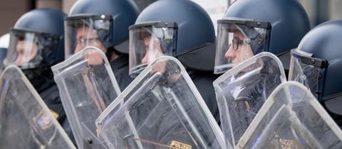 Hessische Bereitschaftspolizisten im Einsatz