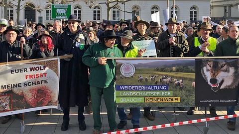 Schäfer bei der Demo in Wiesbaden
