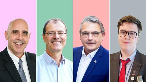 Vier Portraits der Kandidaten der Landratswahl vor farbigen Hintergünden.