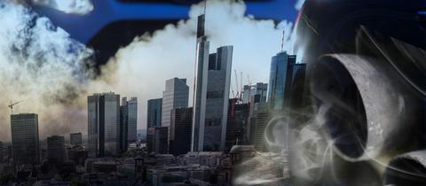 Dieselabgase vor der Frankfurter Skyline