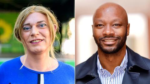 Kombination von zwei Portraits: Tessa Ganserer (links) und Armand Zorn (rechts)