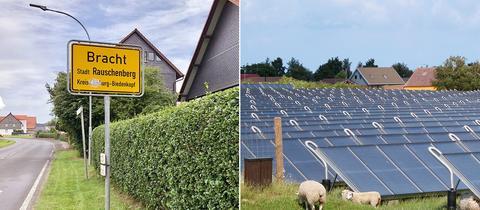Die Bildkombination zeigt zwei Fotos nebeneinander: Links der Ort Bracht, in die Landschaft eingebettet, aus der Ferne fotografiert. Und rechts ein Foto von Flachkollektoren zur solaren Wärmegewinnung, die schräg und hintereinander aufgestellt ein Feld bestücken.