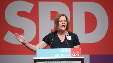 Nancy Faese beim Landesparteitag im Juni 2018 in Wiesbaden