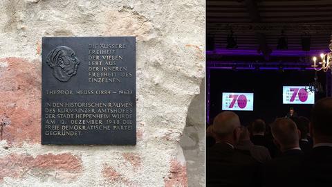 """Gedenktafel und Saal mit großer """"70"""" auf der Leinwand."""