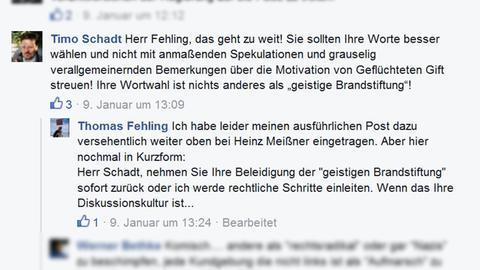Fehling Facebook-Post Antwort