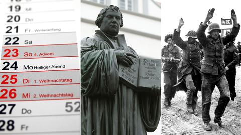 Collage: Kalender, Martin-Luther-Statue, Soldaten