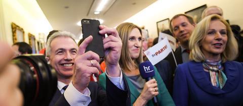 Feldmann und Weyland am Wahlabend.