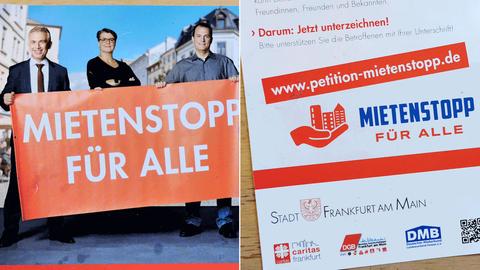 Fotos der Vorder- und Rückseite des Flyers der Kampagne Mietenstopp. Auf der Rückseite ist auch das Logo der Stadt Frankfurt zu sehen.