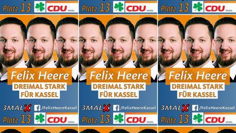 Wahlkampfplakate von Felix Heere (CDU Kassel)
