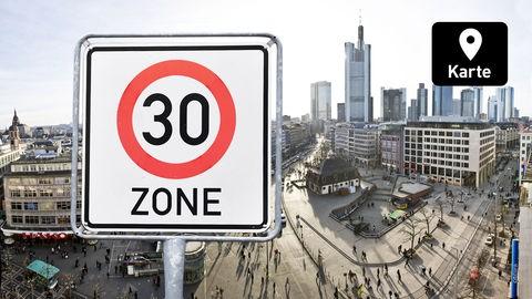 Die Fotomontage zeigt ein Tempo-30-Zone-Schild und ein Foto der Innenstadt von Frankfurt.