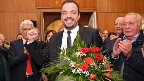 Christian Geselle (SPD) am Sonntag nach der Wahl zum neuen Kasseler OB.