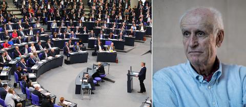 Collage: Bundestag und Glaser.