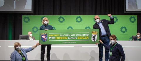 Die Landesmitgliederversammlung der hessischen Grünen fand digital und in der Frankfurter Messehalle 3 statt.