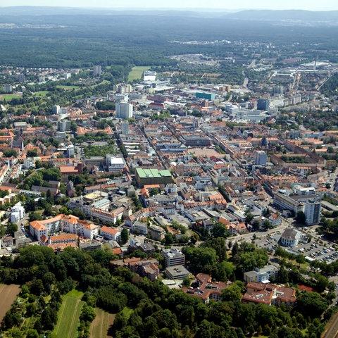 Luftaufnahme von Hanau.
