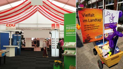 Hessentag 2018: Links im Bild keine Parteien, sondern Fraktionen; rechts der Werbewagen der Piraten.