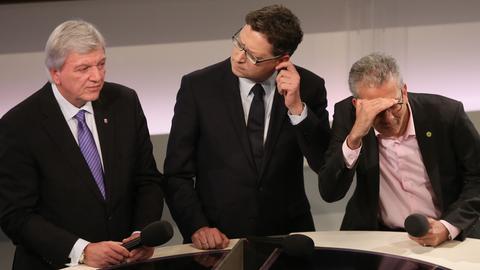 Was sagt der Hessentrend aus? Volker Bouffier, Thorsten Schäfer-Gümbel und Tarek Al-Wazir am Abend der Landtagswahl 2013