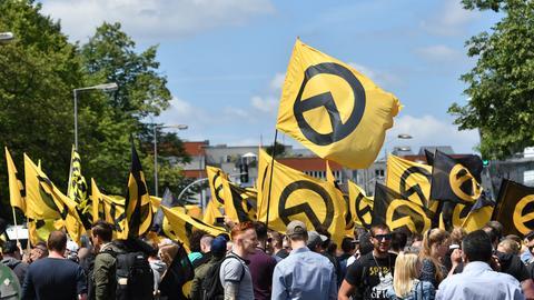 Anhänger der Identitären Bewegung - hier auf einer Demo in Berlin im Juni 2017