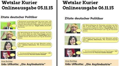 Online-Ausgabe des Wetzlar Kurier mit (li.) und ohne die betroffene Trittin-Aussage.