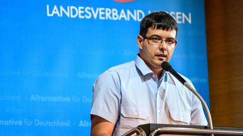 Jens Mierdel (Junge Alternative Hessen) bei einer AfD-Veranstaltung