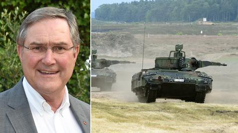 Collage - Franz Josef Jung und zwei Panzer von Rheinmetall