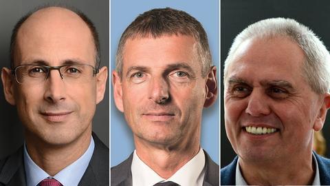 Andreas Monz (CDU), Frank Kilian (parteilos), Benno Pörtner (Die Linke)