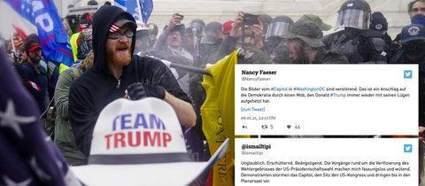 Collage aus einem Foto von den Tumulten vor dem Kapitol in Washington und Auszügen von Twitter-Reaktionen seitens hessischer Politiker*innen.