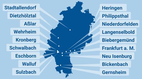 Die Grafik zeigt eine Hessenkarte mit den Kommunen, die eine Klage einreichen.