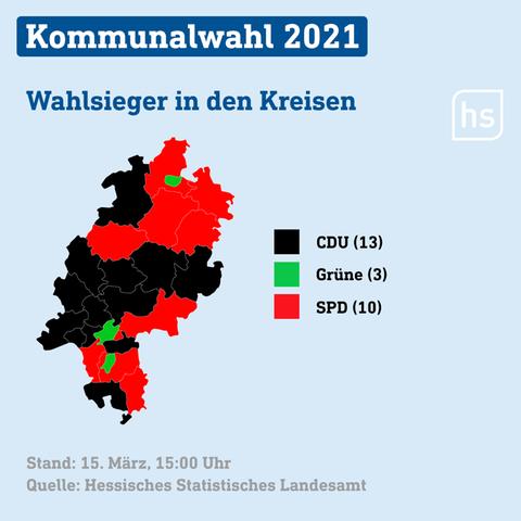 Eine Karte zeigt die Wahlsieger in den Landkreisen.