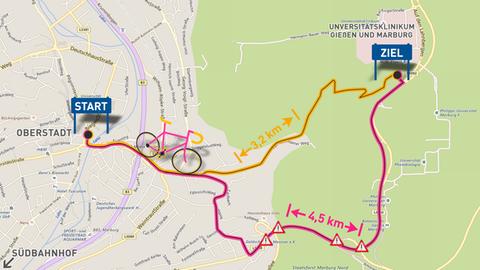 Grafik zu den Radwegen auf die Marburger Lahnberge