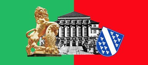 Die Grafik zeigt jeweils hälftig eine grüne und eine rote Farbfläche. Vor diesen Farbflächen sind das Ausschnitte des Kasseler Rathauses, des goldenen Löwen, der vor dem Rathaus als Skulptur steht und des Kasseler Wappens zu sehen.