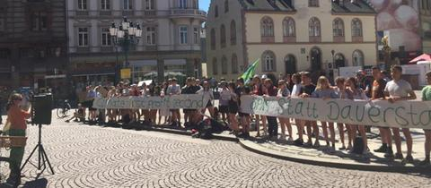 Jugendliche fordern vor dem Wiesbadener Rathaus, dass die Stadt den Klimanotstand ausruft.