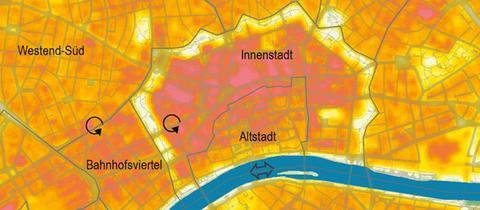 Frankfurts überwärmte Viertel