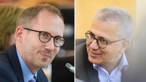 Gesundheitsminister Kai Klose (links) und Wirtschaftsminister Tarek Al-Wazir (rechts)