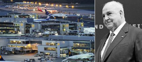 Aufnahme vom Frankfurter Flughafen, Helmut Kohl