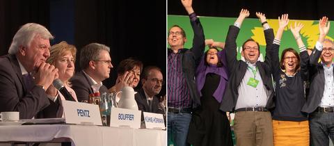 CDU auf dem Podium in Nidda, Grüne bei Jubel auf der Bühne in Hofheim am Taunus.