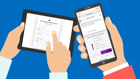 Grafik von Händen mit Smartphone und Tablet, die verschiedene Wahl-o-maten zeigen.
