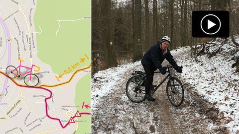 Collage mit Karte des Radwegs und Ulrich Schu mit Fahrrad auf dem Waldweg.