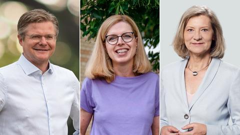 Porträtfotos der drei Kandidaten.