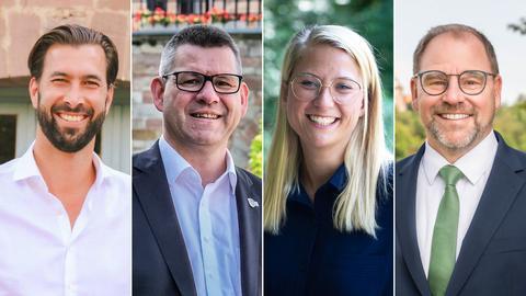 Die vier Kandidaten der Landratswahl: Daniel Herz, Friedel Lenze, Nicole Rathgeber und Frank Hix.