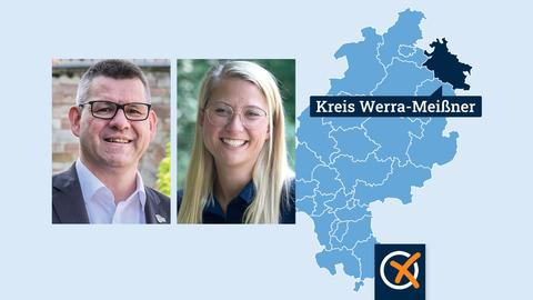 Eine Hessenkarte mit dem Kreis Werra-Meißner eingefärbt. Daneben Portraits von Friedel Lenze und Nicole Rathgeber.
