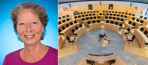 Links ist ein Porträt von Ursula Birsl, rechts ein Fotos des leeren Landtags.