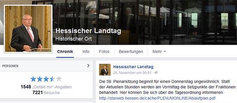 Screenshot der inzwischen gelöschten Landtagsseite.