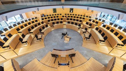 Der Landtag in Wiesbaden im Umbau.