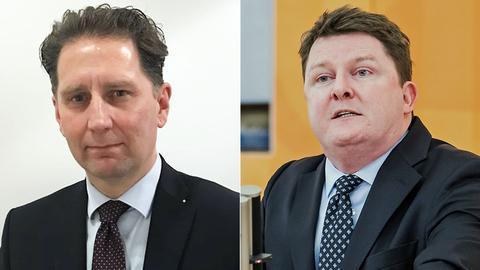 Der AfD-Landtagsabgeordnete Frank Grobe (li.) und Marius Weiß von der SPD