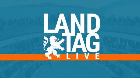 """Zu sehen ist der Schriftzug """"Landtag live"""" vor einem eingefärbten Foto des Landtags."""